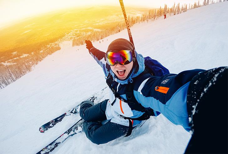 En actie ... op wintersport met de actiecamera