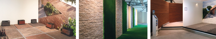 uitgebreid binnentoonpark voor buitenmaterialen